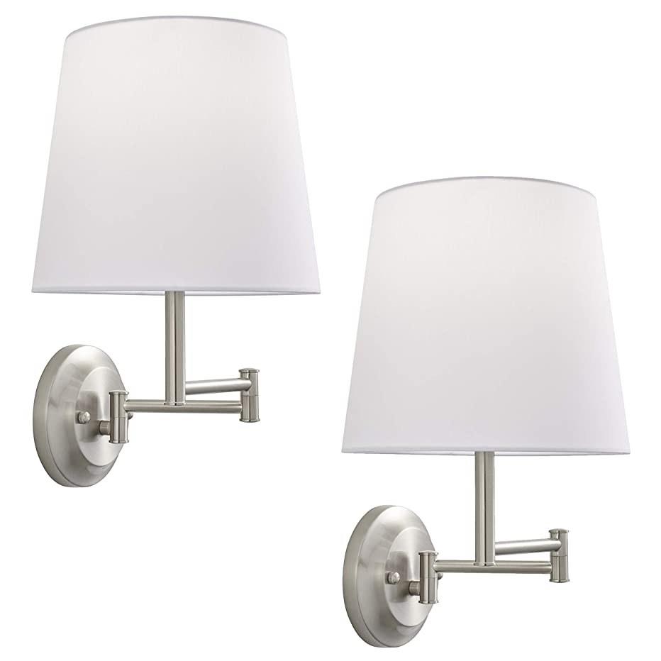 Lemanca Swing Arm Wall Lamp   Brushed Nickel Wall Sconces Set of Two LL-WL708-1BN-2PACK