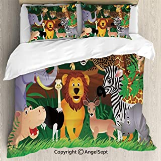 SfeatruAngel Luxe Bedding SetsAnimals in The Jungle Funny Expressions Exotic Comic Cheer Natural Habitat Illustration,Queen Size,Microfiber 3 Piece Duvet Cover Set, Beding Set,Multicolor