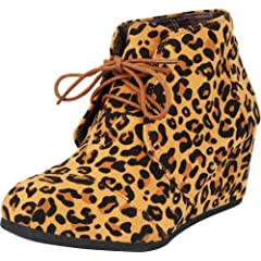 0502ff1455541 Lace up leopard wedge bootie - Casual Women's Shoes