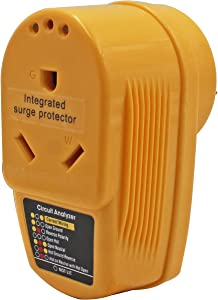 RV Surge Protector 30 Amp,55310 Adapter Circuit Analyzer With Integrated Surge Protection,30 Amp Male to 30 Amp Female Wiring RV Trailer,with Indicator Lights