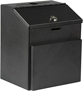 Suggestion Box with Lock for Wall Mount or Tabletop Use, Locking Hinged Lid, Metal Ballot Box with Pocket for Donation For...
