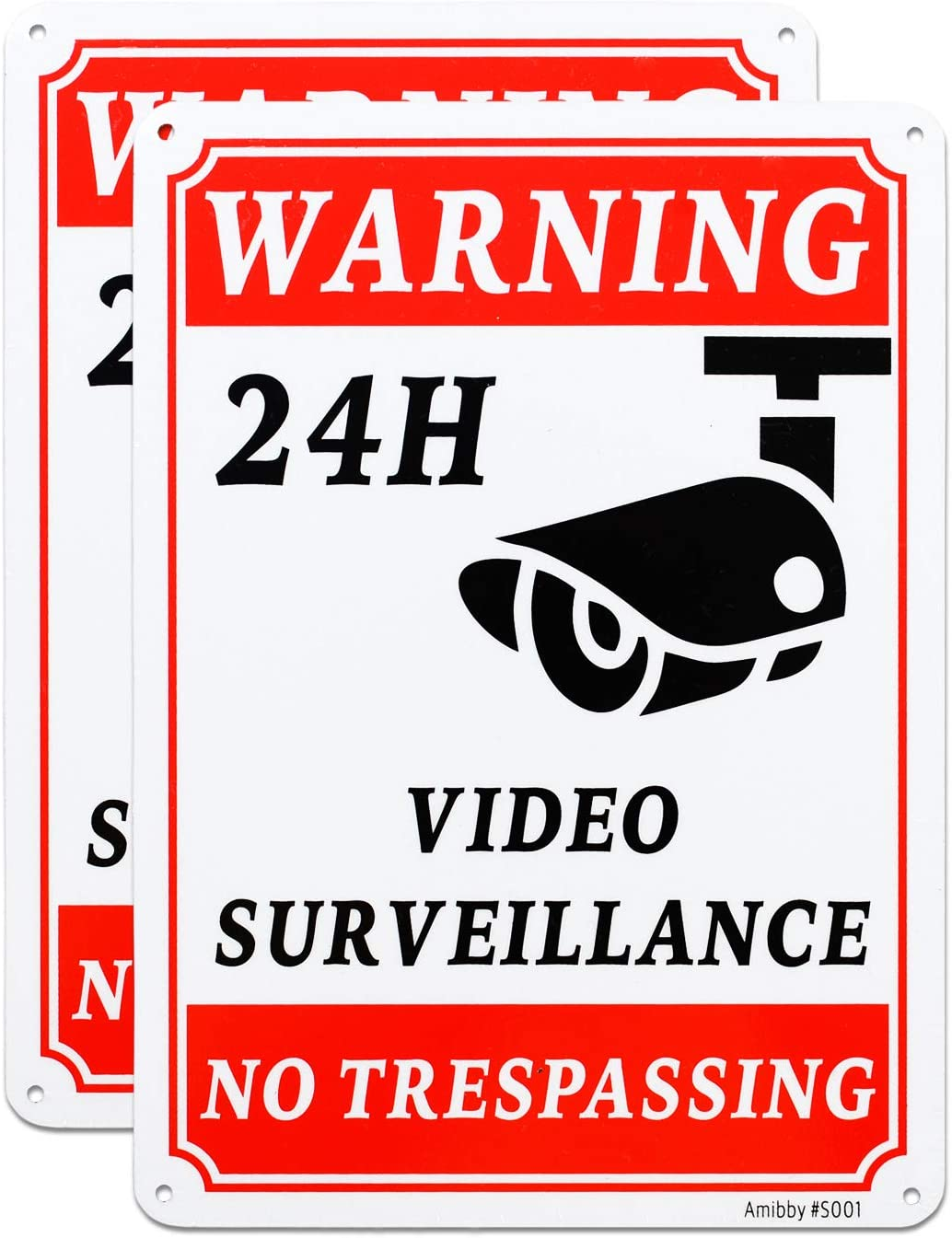 Amibby 2-Pack Private Property No Trespassing Sign, Video Surveillance Signs Outdoor, UV Printed .040 Mil Rust Free Aluminum 10 x 7 inch, Security Camera Sign for Home, Business, Driveway Alert, CCTV