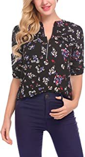 LOMON Women Blouses Shirts Floral Long Sleeve Chiffon Casual Tops Zip Up Sexy Classic for Work