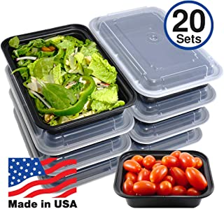 Pactiv [20 Sets] Meal Prep Containers with Lids, Food Storage, Take Out, Lunch Box, Portion Control, Microwave/Dishwasher/Freezer Safe, BPA Free, Made in USA (16 OZ - Small)