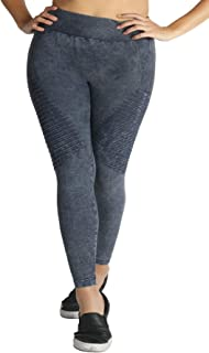 Nikibiki Women's Plus Size Vintage Dye Biker Leggings for Soft Seamless Premium Yoga Athleisure Everyday Pants - Made in USA