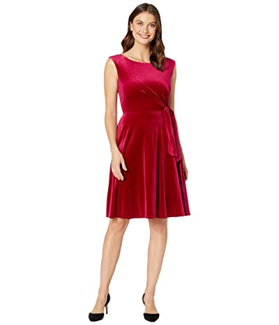 Tahari by ASL Stretch Velvet Side Tie Dress (Ruby) Women