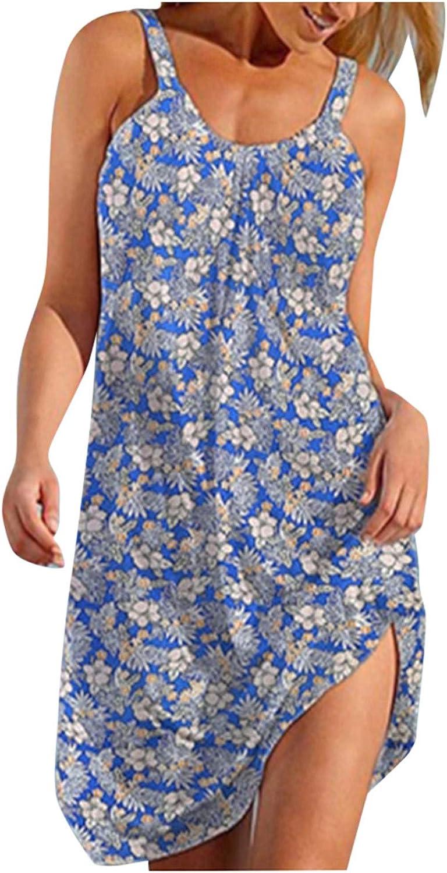 Oiumov Summer Dresses for Women Casual Spaghetti Strap Boho Floral Sundress Plus Size Sleeveless Beach Tank Wrap Dress