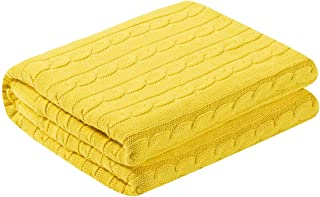 "uxcell Super Soft 100% Cotton Cable Knit Blanket for Sofa and Couch,Lightweight Knitted Throw Blanket,Home Decorative Blanket, 60""x 78"", Yellow"