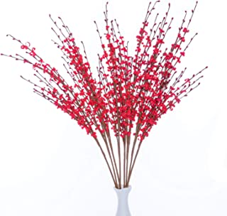 UiiziC Artificial Flowers Jasmine Flowers for Wedding Bouquets Home Party Hotel Centerpieces Decorations (Red, 8pcs Jasmine)