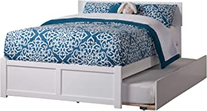 Atlantic Furniture Orlando Platform Bed with Flat Panel Footboard and Twin Size Urban Trundle, Full, White