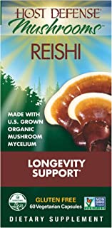 Host Defense - Reishi Mushroom Capsules, Naturally Supports a Healthy Heart and Cardiovascular System, Energy, Stamina, and Stress Response, Non-GMO, Vegan, Organic, 60 Count