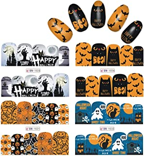 Rolabling Halloween Nail Sticker Nail Decals Nail Art Water Transfer Tattoo Sticker Decal for Kids and Women 12 Sheets DIY Nail art Tools (Halloween)