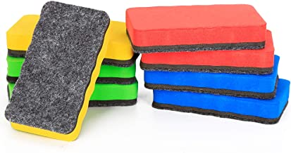 8 Pack Magnetic Dry Eraser - Wellerly Whiteboard Erasers Chalkboard Cleaners Eraser Dry Erase Wipe for Classroom Home Office School Teacher (Blue+Yellow+Red+Green, 4.2inch x 2.2inch x 0.8inch)