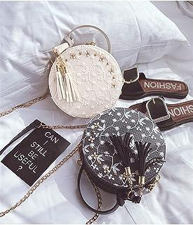 ZZZ Chain Shoulder Bag Women's Bag Personality Lace Small Round Bag Fashion Tassel Wild Crossbody Bag fashion (Color : White)