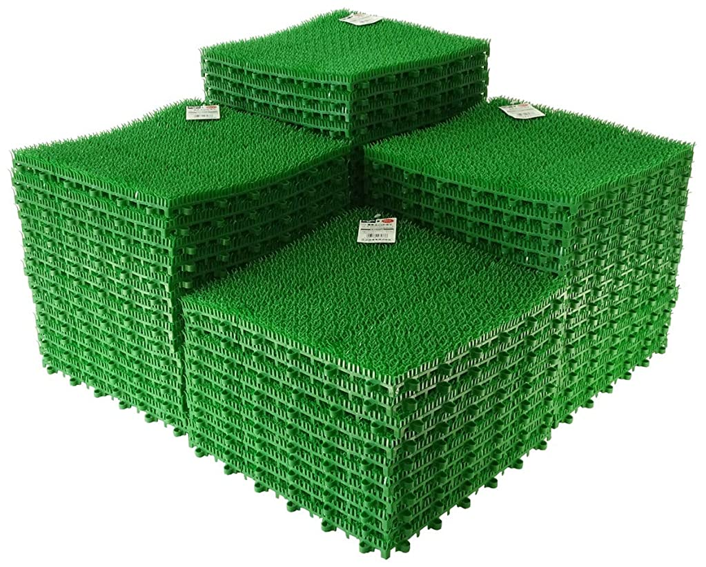 どこかありふれた絞る日本製 人工芝 若草ユニット E-V グリーン 60枚セット