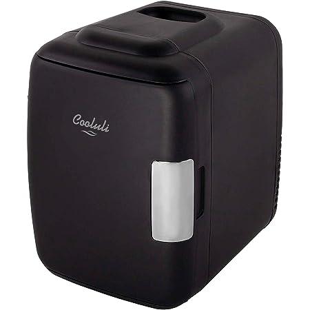 Cooluli Skincare Mini Fridge for Bedroom - Car, Office Desk & Dorm Room - Portable 4L/6 Can Electric Plug In Cooler & Warmer for Food, Drinks, Beauty & Makeup - 12v AC/DC & Exclusive USB Option, Black