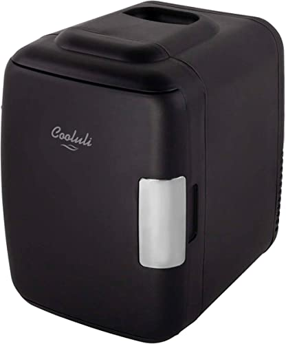 Cooluli Classic Black 4 Liter Compact Cooler Warmer Mini Fridge with AC/DC/USB Power - Great for Bedroom, Office, Car...