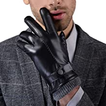 Premium All-Leather Gloves for Men-Men's, Touchscreen Full-Hand, Gloves for Motorcycle Driving Riding Black, Gift, Warm,Wo...