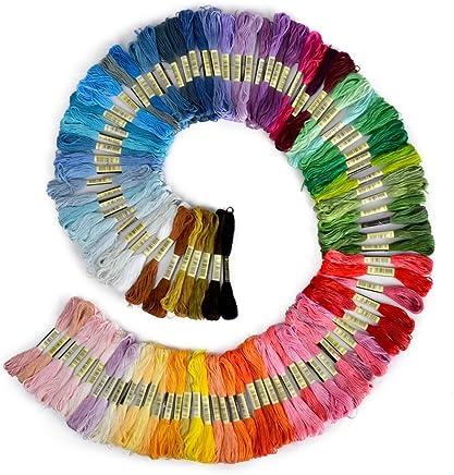 B008JS522G - Filo da ricamo, 100% cotone, 100 matassine in colori assortiti