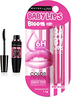 Maybelline New York Hypercurl Mascara Washable, Black, 9.2ml And Maybelline New York Baby Lips Color Changing Lip Balm, Pi...