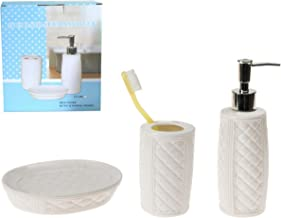 Bosphorus Ceramic Bathroom Set with Diamond Pattern Gift Box, 3 Pieces, White, LY-J86