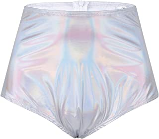 FEESHOW Women's Shiny Metallic Zipper up Rave Booty Shorts Brief High Waist Shorts Pants