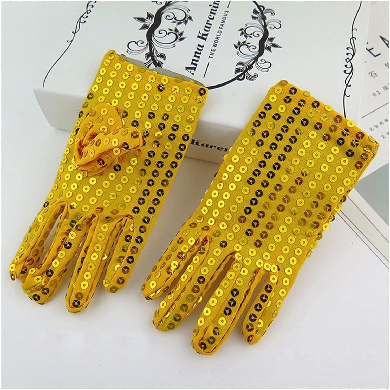 Bridal Gloves Sequins Wedding Flower Girl Gloves Princess Dress Gloves Kids Mittens Children Performance Birthday Christmas Party Gloves (Color : Gold Yellow)