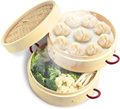 Amberfor 2 Tiers 10″ Bamboo Steamer with 2 Anti-Hot Handle and Lid for Japanese & Chinese Cuisine, Handmade Natural Kitche...