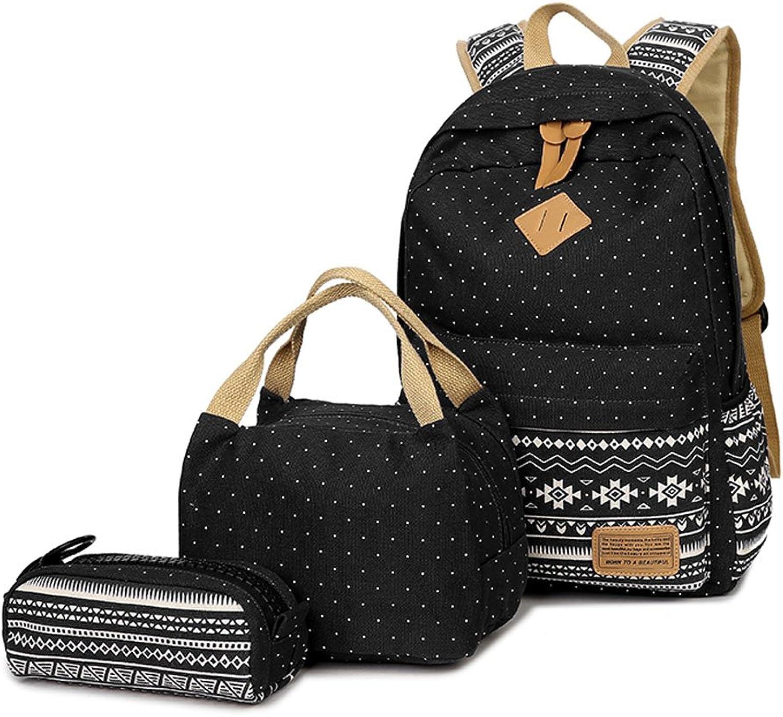 Neuleben Schulrucksack  Kühltasche  Mäppchen Schultaschen 3 Set aus Canvas für Jungen Mädchen Schule Freizeit (Schwarz) B01MXR95WJ    Bunt,