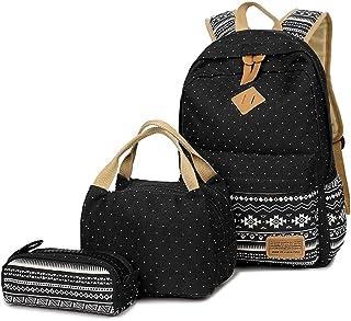 Neuleben Schulrucksack  Kühltasche  Mäppchen Schultaschen 3 Set aus Canvas für Jungen Mädchen Schule Freizeit Schwarz