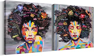 FREE CLOUD Crescent Art Abstract Pop Black Art African American Wall Art Afro Woman Painting on Canvas Print Wall Picture for Living Room Bedroom Wall Decor (Set Framed, 28 x 28 inch)