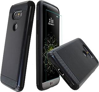 درع مزدوج الطبقات [واقي شاشة من الزجاج المقسى مجانًا] غطاء حماية كامل للجسم لهاتف LG G5 (أسود)