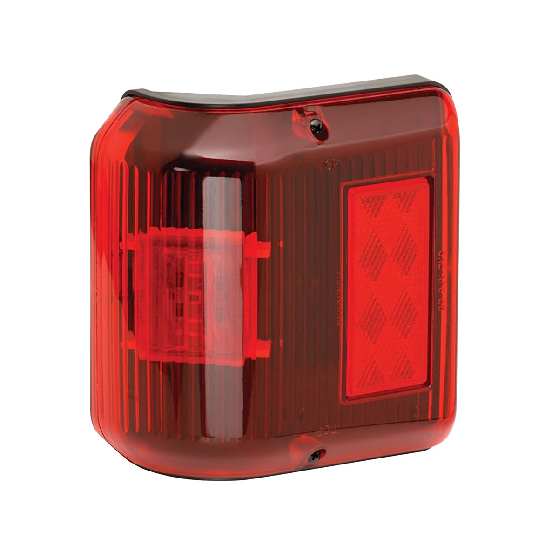 Fulton Bargman 48-86-202 LED Wrap-Around Side Marker Light (with Black Base - Red)