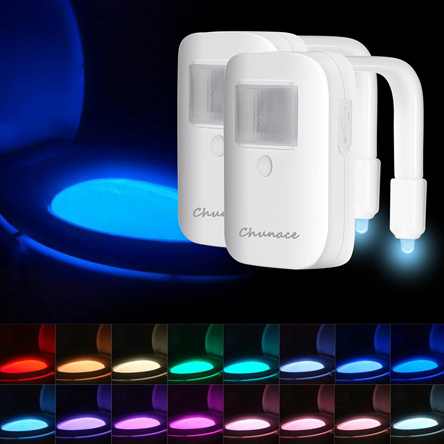 Rechargeable Toilet Bowl Night Lights,16 Colors Motion Detection Cool Fun Nightlights, Funny & Unique Birthday Gift Idea for Dad, Mom, Men, Women & Kids, Best Gag Gadgets (2 Pack White) maejsztzkrs177