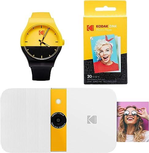high quality KODAK Smile Instant Print Digital lowest Camera popular (White/Yellow) Watch Bundle online sale