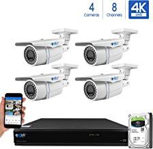 GW 8-Channel 4K H.265 Complete CCTV Security System with (4) x HD 8MP 2160P Outdoor/Indoor 2.8-12mm Varifocal Zoom 4K Bullet Security Cameras and 2TB HDD, QR Code Scan Free Remote View
