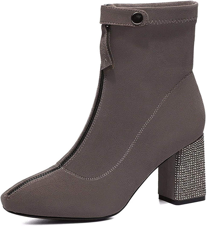 GTVERNH Women's shoes Martin Boots Autumn and Winter Rough Heels Medium Heels Thin Short Boots Front Zippers Women's Boots.