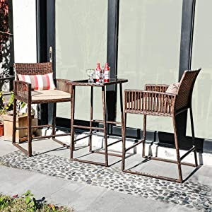 SUNSITT 3-Piece Outdoor Wicker Bar Height Table Set, 2 Bar Stools and 1 Pub Table with 2 Striped Pillows, Seat Cushions, Steel Frame