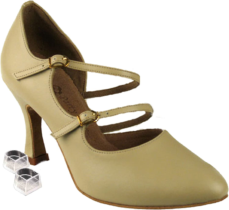 Very Fine Women's Salsa Ballroom Tango Latin Dance Shoes Style PP201 Bundle with Plastic Dance Shoe Heel Protectors, Beige Leather, Heel 3 Inch, 6.5 M US