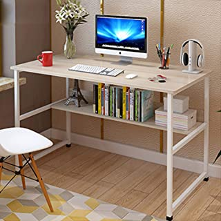 100 * 45 Office Desk Table Home Study Table Desk with Shelves Sturdy Writing Computer Desk