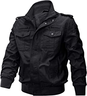Men's Spring Fall Casual Windbreaker Jacket Cargo Stand Collar Military Bomber Jackets Coat