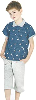 ملابس للاولاد من قطعتين - بتصميم قوارب