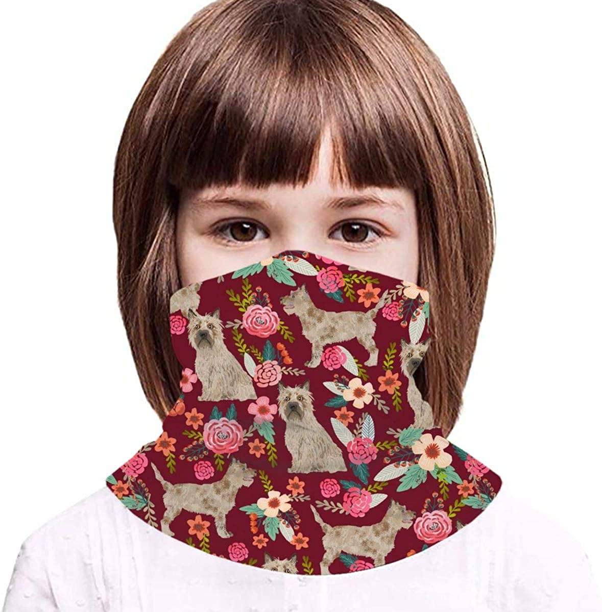 Cairn Terrier Dog Floral Dog Design Ruby Red Kids Face Mask Dust Sun UV Protection Neck Gaiter Balaclava Face Cover Scarf Summer Breathable for Cycling Fishing Outdoors