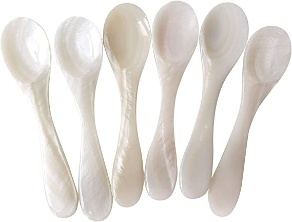 Pearl Sea Shell Hand craft Mother of pearl caviar spoon tiny tea coffee sp/_Z2