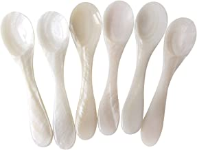 Marycrafts Set of 6 White Mother of Pearl MOP Caviar Spoons W Round Handle