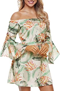 Elapsy Womens Off Shoulder Bell Sleeve Club Palm Leaf Print Boho Short Dress