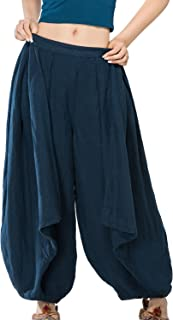Lady's Yoga Long Loose Elastic Closure Pants, Boho Pure Colour Wrinkled Trousers with Pockets