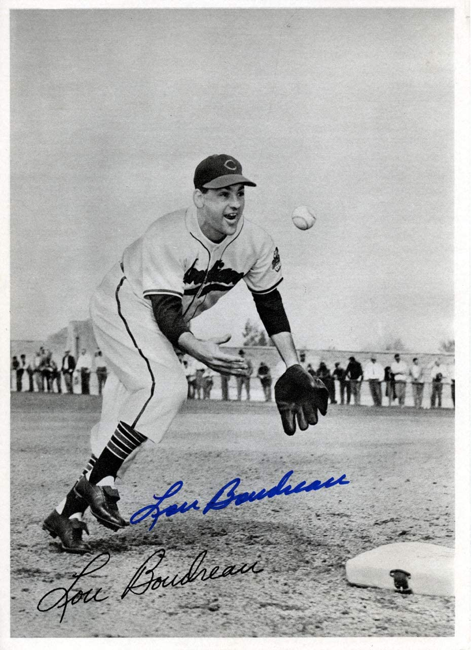Lou Boudreau Autographed 6.5x9 New products, world's highest quality popular! Genuine Photo 1948 Cleveland Picture Pack