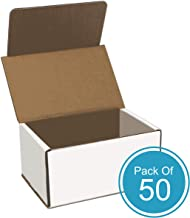 Corrugated Cardboard Shipping Box - Pack of 50, 6 x 4 x 3 Inches, White