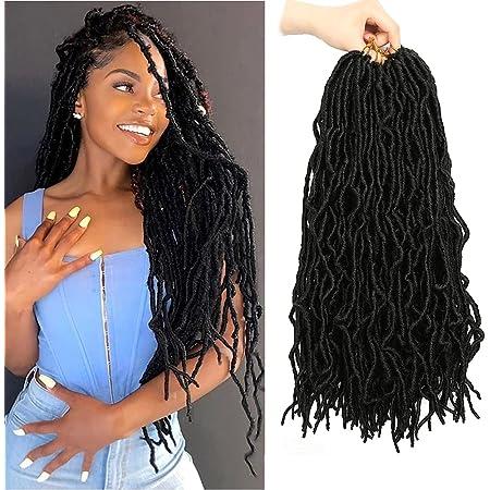 18 Inch 6 Packs Soft Locs Crochet Hair Faux Locs Crochet Hair Pre-Looped Soft Goddess Locs Curly Wavy Crochet Braids Hair for Women (18 Inch, 1B#)